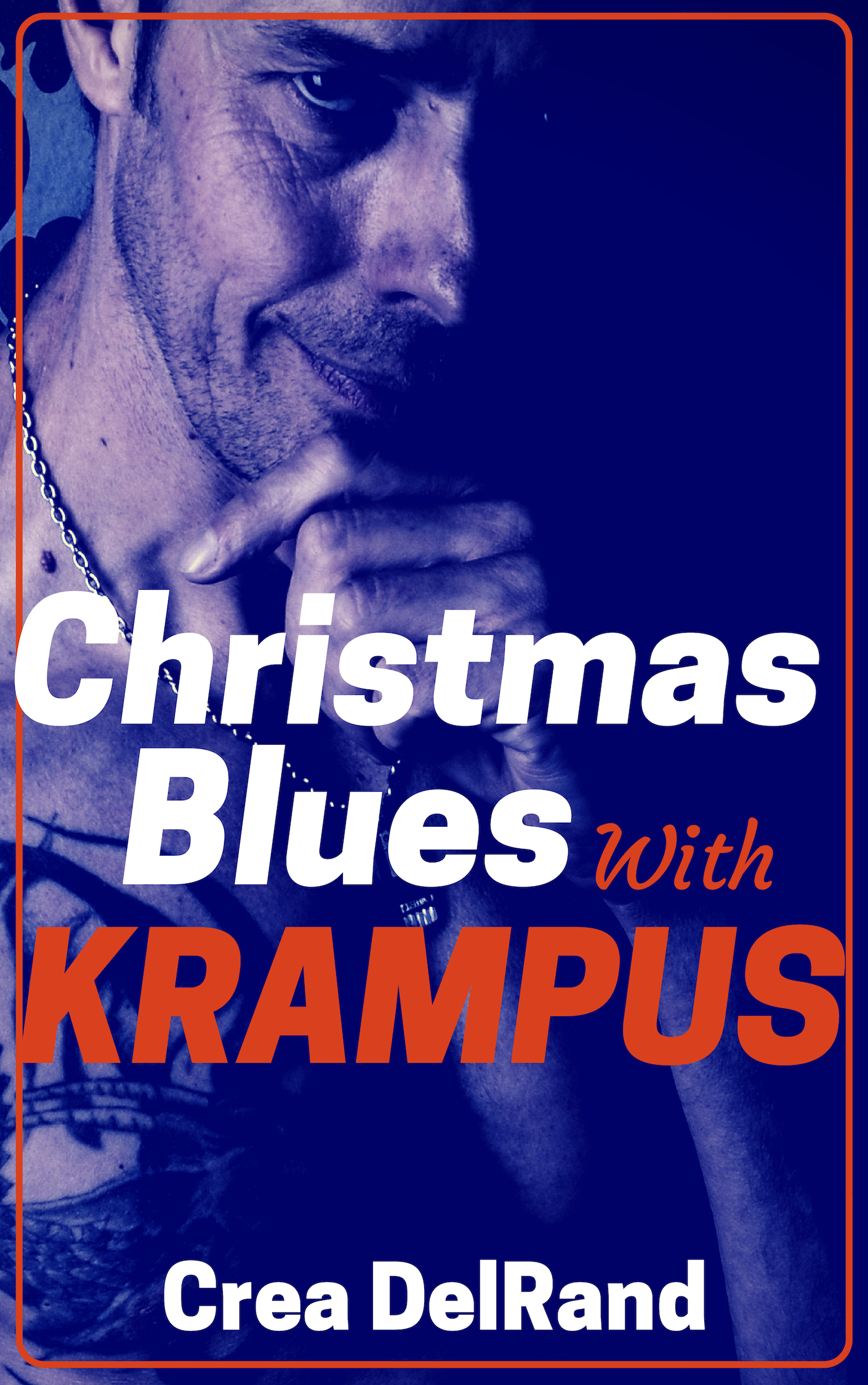 "Cover of ""Christmas Blues With Krampus."" Partially-obscured male face smiling mischievously from the darkness."